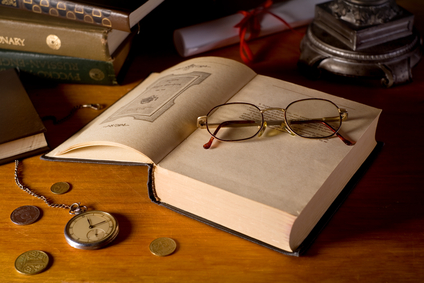 Still-life with books and glasses